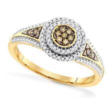 Chocolate Brown & White Diamond Ring 10K Yellow Round Diamond Cluster Ring .20ct