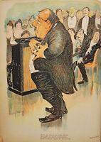 Caricatura Teatro Drama Cromo Tipografía Kadell 1899 26 , 5x21cm