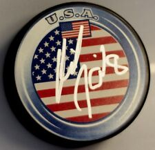 MIKE KOMISAREK Signed USA FLAG HOCKEY PUCK!! TORONTO MAPLE LEAFS! 1000391