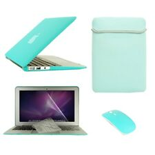 """5in1 Hot BLUE Rubberized Case fr Macbook Air 13"""" A1369 &A1466 +Key+LCD+Bag+Mouse"""