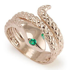 14k Solid Rose Gold Snake Emerald Eye Serpent Ring Sizes 6 to 10 #R1118
