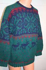 Mens L~XL Vintage 80s BRAEMAR Chunky Sweater Hand Knit Wool Deer Ski Green 1980