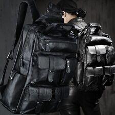 ByTheR Men's Black Fashion Faux Leather Pockets Monster Large Backpack Bag AU
