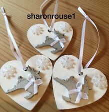 3 X Christmas Decorations Reindeer Shabby Chic Rustic Real Wood Silver White Bow
