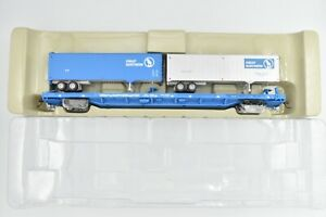Athearn RTR 93263 Great Northern 85 Ft Flat Car 61001 With Trailers Big Sky Blue