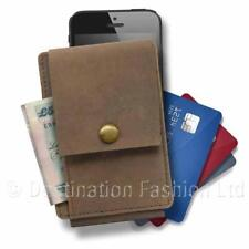 Unisex Slimline Brown Leather Universal Mobile Phone Purse Wallet Case ID Cards