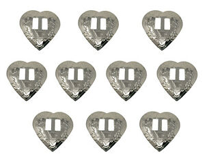 10 Silver Tribal Heart Metal Western Slotted Conchos Bolo Belt Leather Crafts