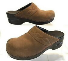 Lands End Clogs Size 7B Brown Tan Suede Leather Slip On Top Stitched Mules