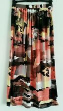 NEW M&S Size 14 Brush Abstract Print Coral Black Summer Holiday Beach Maxi Skirt