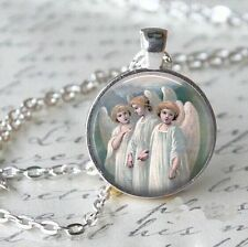 Retro Angels Cabochon Tibetan Silver Glass Chain Pendant Necklace