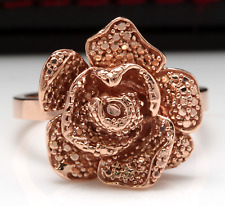 Beautiful 14K Solid Rose Gold Flower Ring