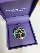 HEATHERGEMS TREE OF LIFE BROOCH GREEN SILVER PLATED BRAND NEW