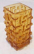 Sklo Union Pressed Glass 'Maze' Amber Vase Czech EXCELLENT 1968 RETRO