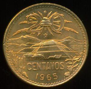 1965 Mexico 20 Centavos Uncirculated Bronze