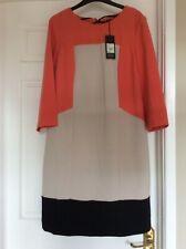 Ben de Lisi Coral, Beige and Black Shift Dress - Size 14 - RRP £55