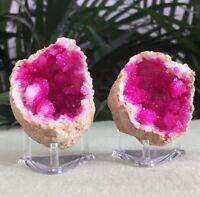 Pink Geode Pair W/Stands Crystal Quartz Gemstone Specimen Dyed Morocco Geode