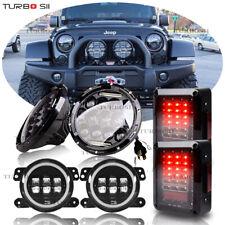 "2007-2017 Jeep Wrangler JK 7"" LED Headlight Fog Light Turn Tail Lights Combo Kit"