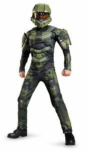 Licenced Kids Halo Master Chief Muscle Costume Boys Microsoft Game Fancy Dress