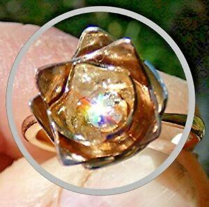 HANDMADE 9CT ROSE, WHITE & YELLOW GOLD 10PT DIAMOND SOLITAIRE FLOWER RING VDO