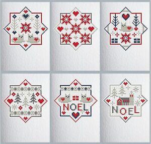6 CROSS STITCH Christmas Cards Cats Riverdrift House