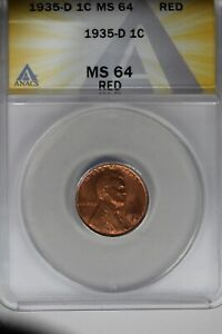 1935-D   .01   ANACS   MS 64 RED    Lincoln Head Cent, Lincoln One Cent