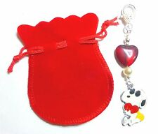 """Cool Dude"" Snoopy Romantic Valentine Enamel Bag charm Crystal heart Red Giftbag"
