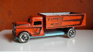 Mexican Vintage Toy Tin orange EXPRESS MEXICO Cargo Truck 1960s
