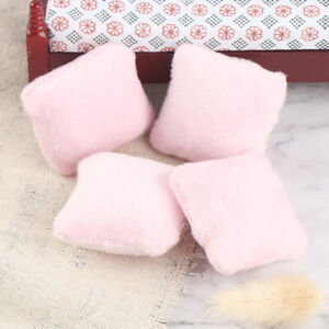 4Pcs 1/12 Dollhouse Miniature Pillow Cushions For Sofa Couch Bed Furniture ^dm