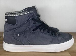 Supra High Top Blue Canvas Skate Shoes Men's Size 10