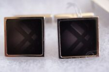 New Burberry Men's Check Classic Cufflinks Square Silver Black Holiday Gift Sale