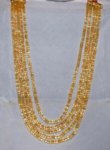 "Natural Citrine Gemstone 13-15"" 5 Strand Necklace 3-4 mm Round Cut Beads UJH44"