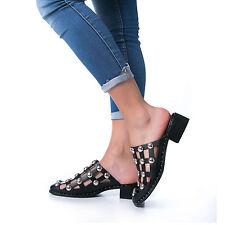 MFORSHOP sandali scarpe donna sabot eco pelle borchie ciabatte no cinturino 9300