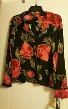 Softwear Size petite XL acetate/spandex long sleeve black and red floral  blouse