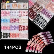 144Pcs Mixed Set False Nail Tips Artificial Fake Manicure Acrylic Nails Art Us
