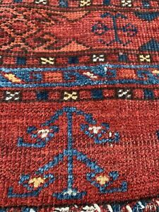"ANTIQUE TURKOMAN KIZIL AYAK CHUVAL BAG-FACE RUG  2' 11"" X 4' 3"" LATE 19TH C."