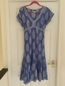 East Anokhi Blue Indian Block Print Dress Size 12