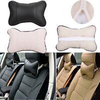 Voyage Car Auto Seat Head Neck Rest cuir Coussin Pad Os Oreiller appui-tête