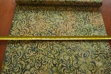 By 1/2 Yd, Green Tan Brown Tonga Batik, Timeless Treasures/B8400/JUNGLE, B785