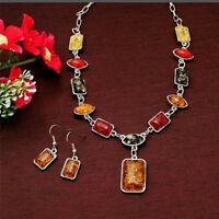 New Bohemian Vintage Women's Amber Necklace Earrings Jewelry Set Wedding Gifts