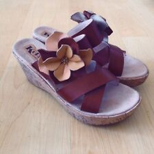 Korks By Kork Ease 9 Women Brown Leather Flower Wedge Strappy Sandal 40.5