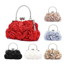 Floral Ladies Clutch Bag Women Evening Party Bag Prom Bridal Diamante Bague I4H8
