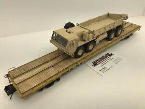 MTH Premier 60' Flat Car With An ARMY TAN HEMTT 8 Wheel Truck Chained O Scale