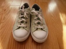 Girl's Mint Green Converse Low Top Sneakers Size 3 White Laces