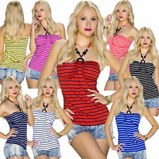 Party Striped Sleeveless Tops & Shirts for Women