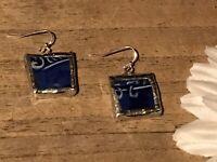 Recycled Broken Porcelain Jewelry, Antique Flow Blue Dangling Wire Earrings