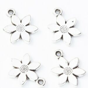12 x Flower Charms Antique SILVER Tone Double Sided 17x12mm Crafts Findings