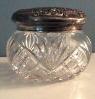 Cut Glass/Crystal Large Dresser Jar Birmingham England 1800's Sterling Lid