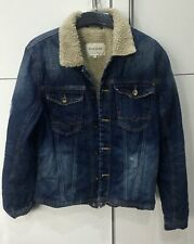 RIVER ISLAND MENS DENIM JACKET WITH WARM COLLAR & QUILTED LINING   SIZE  MEDIUM