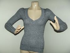 EXPRESS XS GRAY BLACK V-NECK SWEATER heather RIBBED Long Sleeve