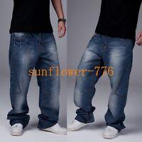 Mens Hip Hop Jeans Casual Pants Fashion Baggy Jeans Cargo Pants Loose Trousers